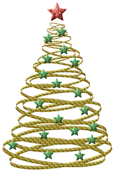 Transparent_Gold_Christmas_Tree_with_Green_Stars_PNG_Picture